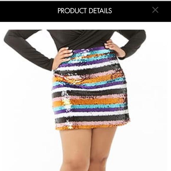 437c1113b38c Skirts | Forever 21 Plus Size Sequin Striped Mini Skirt | Poshmark